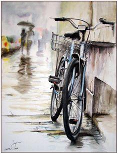 Realistic Watercolor Bike