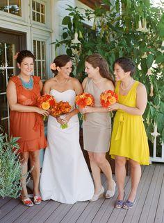 I love non matching bridesmaid dresses