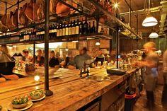 Pizza East Kentish Town/Highgate. Reclaimed Wood bar top, Urban Chic Interior Design