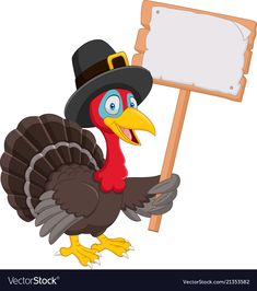 Cartoon turkey holding blank sign vector image on VectorStock Thanksgiving Cards, Thanksgiving Decorations, Powerpoint Background Templates, Blank Sign, Safari, Sign Templates, Yard Art, Retro, Tags