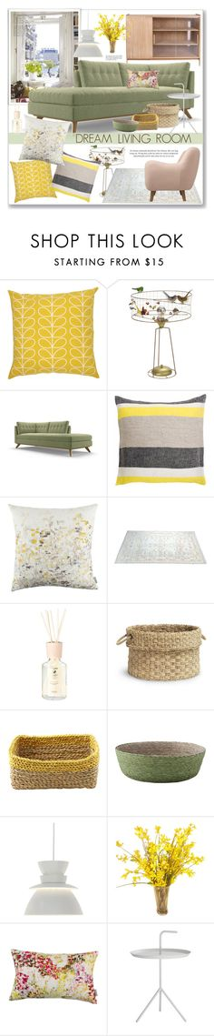 """Green & Yellow"" by yukotange ❤ liked on Polyvore featuring interior, interiors, interior design, home, home decor, interior decorating, Orla Kiely, Joybird, Lapuan Kankurit and Acca Kappa"