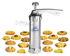 Harold Import 8307 Deluxe Biscuit Maker - Stainless Steel From Atlas. It is a simple tool that allows you to make cookies in different shapes (20 types). It has recipes included in its package but everyone can make their own. It's all in metal, strong built and really easy to use. #biscuitmaker http://astore.amazon.com/buythisproduct-20/detail/B0002T4Z8W