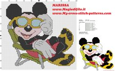cross stitch pattern disney mickey mouse in beach holiday