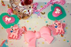 Kawaii Deer  Necklace Pretty pink and Aqua blue Hearts Huge Pink Ribbon Bow Girly statement necklace