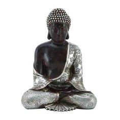 "Benzara Silver Meditating Peace Buddha Statue 11""H x 9""W   eBay"