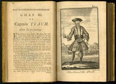 Blackbeard the Pirate - first likeness to appear in print - General History of Pyrates 1724.