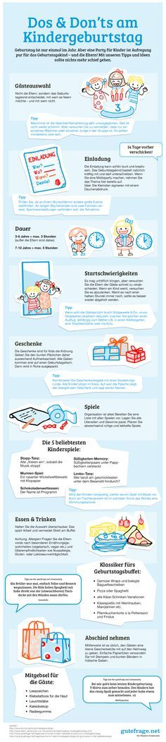 """""""Dos & Don'ts am Kindergeburtstag"""" Die besten Tipps … """"Goodbye"""" infographic. """"Dos & Don'ts on Children's Birthday"""" The best tips and tricks for the perfect planning for the successful party are here 4 Kids, Diy For Kids, Cool Kids, Baby Kids, Children, Business Invitation, Kids Corner, Baby Birthday, Kids And Parenting"""