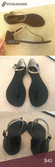 e53f76c88acf Michael Michael Kors embossed Sandals Gorgeous black and gold flat sandals.  Beautiful crocodile embossing on