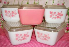 Vintage Pink Pyrex Gooseberry Refrigerator Bowls
