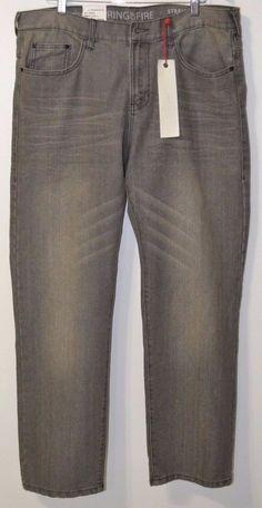NWT Ring Of Fire LA Black Denim Men's Grey Jeans Pants Straight Leg  36 x 30 #RingofFireDowntownLA #ClassicStraightLeg