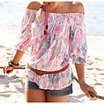 Women's Daily Casual Summer T-shirt,Solid Boat Neck Long Sleeves Cotton Medium 2018 - $5.4