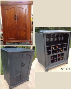 Bar Stool Makeover, Cabinet Makeover, Wine Bar Cabinet, Wine Cabinets, Paint Furniture, Home Furniture, Wooden Gates, Wine Decor, Mosaic Diy