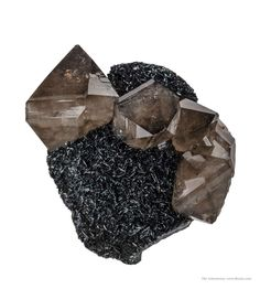 "hematitehearts: "" Smoky Quartz on Hematite Locality: Cumbria, England, United Kingdom """