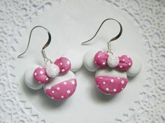 Minnie Mouse Earrings Polymer FIMO Clay by DreamPrincessDesign, $7.00