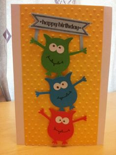 Monster birthday card using stampin up owl punch