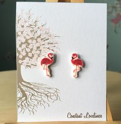 Flamingo Earrings - Digitally Drawn Plastic Earrings on silver plated stud earrings