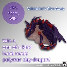 ♥ Valentine's Day Giveaway ♥ Hey Skullaby Crew! I decided to start my very first giveaway over Valentine's Day, seeing as Skullaby has received so much. Clay Tutorials, Handmade Crafts, Jewelry Crafts, Competition, Polymer Clay, Dragon, Valentines, Valentines Diy, Valantine Day