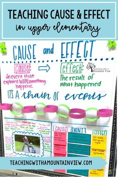 How are you teaching about cause and effect in your upper elementary classroom?  In fourth and fifth grade I use a number of different strategies (hands-on lessons, anchor charts, picture books, and more!) to make sure that my students grasp this important concept.  Take a look! #upperelementary #anchorchart #causeandeffect