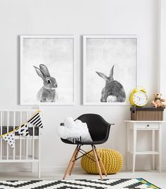 Baby Animal Nursery Art Modern Nursery Prints Cute Nursery Decor Rabbit Tail…