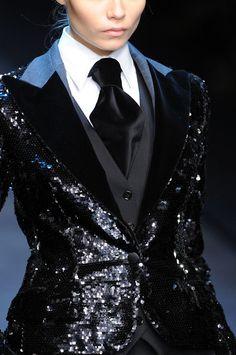 Dolce & Gabbana's design mixing masculine jacket with flashy feminine design.