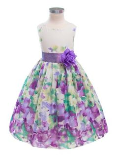Purple/Lavender Colorful Floral Print Cotton Flower Girl Dress - Princess Dresses - GIRLS (Tea for Two dress!)