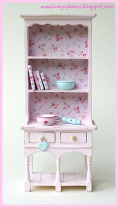 shabby chic, vintage style rose themed dresser/hutch