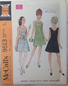 """vintage McCall's pattern #9513 UNCUT Misses' size 10 dress with three necklines """"New Sizing"""" 1968 by MotherMuse on Etsy"""