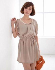 J71252 Korean Fashion Round Collar Slim Waist Dress [J71252] - $5.25 : China,Korean,Japan Fashion clothing wholesale and Dropship online-Be the most beautiful Lady