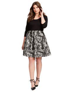 Sarah Twofer Dress In Black And Sketched Floral Jacquard