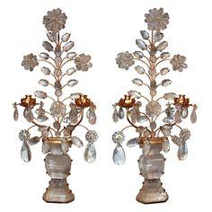 Pair of Italian Gilt Tole & Rock Crystal Wall Sconces #antiquelighting www.rubylane.com