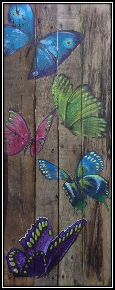 Love this idea to paint across a section of my wooden fence near my garden! Love this idea t Pallet Painting, Pallet Art, Tole Painting, Painting On Wood, Painting & Drawing, Butterfly Painting, Butterfly Art, Butterflies, Art Papillon