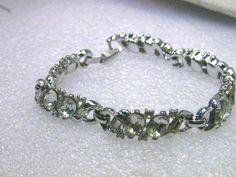 "Vintage Trifari Silver Tone Rhinestone Bracelet, 7"", pat. pend., pre-1950's…"