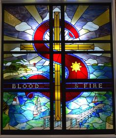 "I love stained glass windows in church, but had never seen one with The Salvation Army ""Blood and Fire"" slogan and logo. With a quarter century of TSA connections, I love this."