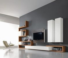47 Amazing Wall Storage Items For Your Contemporary Living Room. Floating wall storage is a mix of practical storage and home décor fashion where the storage unit is fixed to […] Living Room Wall Units, Living Room Tv Unit Designs, Interior Design Living Room, Modern Tv Wall Units, Modern Wall, Tv Wall Design, Room Wall Decor, Home Decor, Wall Storage