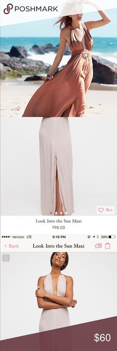 Free People Bestselling Look into the Sun Maxi Bestselling maxi dress by free people in mauve / dark rose, super flowy and light, slit, open back, elastic waste, halter neck, size medium is perfect for b-c- and possibly d cups, plunging neck line, beautiful dress : bought full price @ $98 worn once.  100% rayon  *Length for size small : 56.62 = 143.81... so size medium is probably 2-3 inches long than that ! :) Free People Dresses Maxi