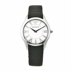 Emporio Armani Women's AR2021 Classic Black Leather Band Watch Emporio Armani. $276.90. Stainless steel case. Quartz movement. Water-resistant to 99 feet (30 M). Black leather band. Scratch-resistant mineral crystal