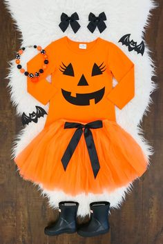 Our boutique kids outfits are perfect for any and everyday wear! These kids clothing sets keep your child in fashion every season. Toddler Pumpkin Costume, Pumpkin Halloween Costume, Baby Girl Halloween Costumes, Halloween News, Toddler Costumes, Tutu Costumes, Halloween Outfits, Pink Halloween, Halloween Clothes