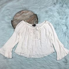 Living Doll Large White Peasant Shirt Bell Sleeve Off Shoulder Festival  X26  | eBay