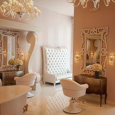 home salon decor ff c a e c bcceb salon studio makeup studio decor salons Glam Hair Salon, Hair Salon Interior, Salon Interior Design, Pink Salon, Makeup Salon, Hair Salons, Fancy Nail Salon, Beauty Salon Decor, Beauty Salon Design
