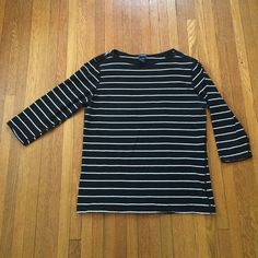 eef8fe372068 3/4 Length Gap Stretch Black White Striped Shirt Black and white striped  shirt with