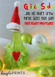 grinch soda heart by DimplePrints with FREE heart printable Grinch Christmas Party, Grinch Party, Christmas Treats, Christmas Parties, Christmas 2019, Christmas Side Dishes, Christmas Books, Simple Christmas, Grinch Drink