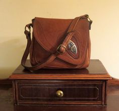 Handmade Leather Artisan Shoulder Bag In Brown Leather With Silver And Brass Tone Hardware- Very Good Condition- Made In U.S.A. by ProVintageGear on Etsy