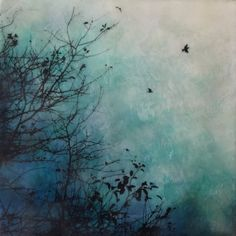"""Blue rising"" 10x10 encaustic artwork by Alanna Sparanese"