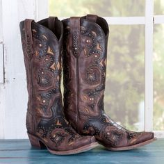 Lucchese Ladies' Brown Studded Boots