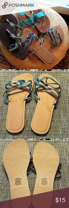 Teal Sandal Bundle Barely Worn as seen looking at the bottoms. ALL in great condition. The 2nd pair has jewels glued on and will be packed with care.  One pair is size 7 (with jewels). Other 2 are 7.5. Shoes Sandals