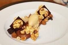 Chocolate Peanut Cremoso, Caramel Popcorn, Candied Peanuts, Dulce de Leche Ice Cream, Chocolate Soil, Shortbread Crumble, Dulce de Leche | by Pastry Chef Antonio Bachour