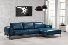 Divani Casa Drancy Modern Blue Bonded Leather Sectional Sofa - VIG Furniture Divani Casa Drancy Modern Blue Bonded Leather Sectional Sofa features a refined graceful look upholstered in blue bonded leather. Putting comfort in min Leather Sectional Sofas, Sofa Couch, Modern Sectional, Navy Couch, Blue Sectional, Grey Sofas, Couches, Blue Leather Sofa, Bonded Leather