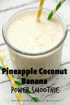 Pineapple Coconut Banana Power Smoothie Recipe // SmashedPeasandCarrots.com