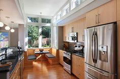 Great breakfast nook with light well above and bay window