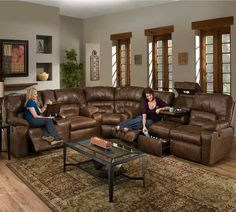 Shazam Six Seat Reclining Sectional Sofa With Cup Holders